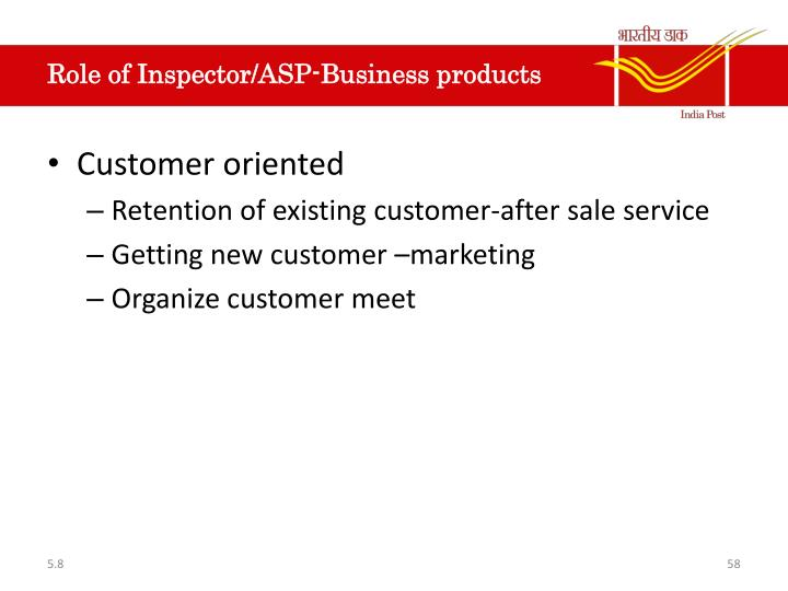 Role of Inspector/ASP-Business products