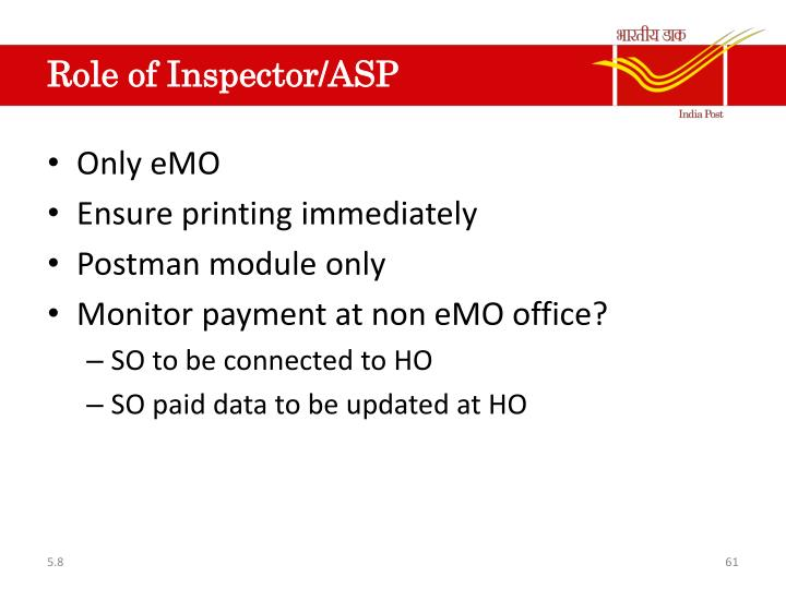 Role of Inspector/ASP