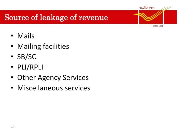 Source of leakage of revenue