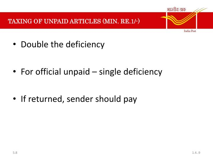 TAXING OF UNPAID ARTICLES (MIN. RE.1/-)