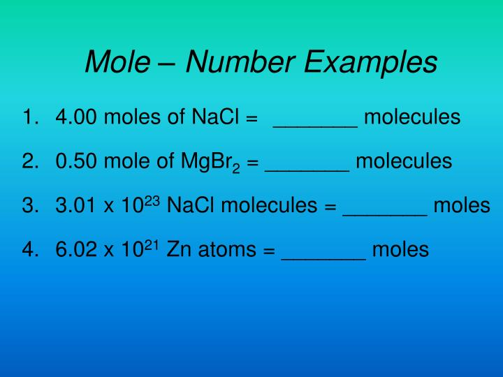 Mole – Number Examples