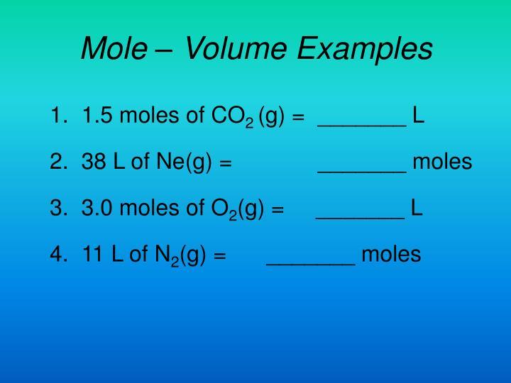 Mole – Volume Examples
