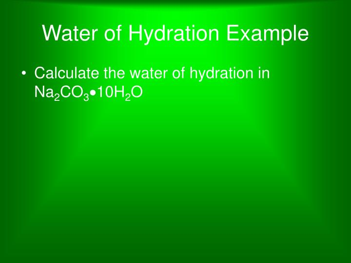 Water of Hydration Example