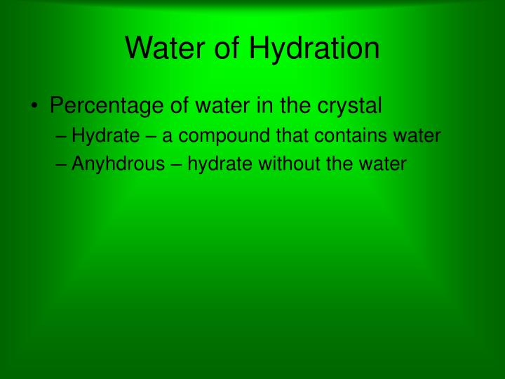 Water of Hydration