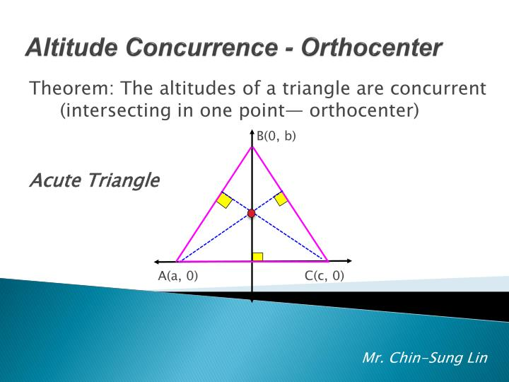 Theorem: The altitudes of a triangle are concurrent (intersecting in one point— orthocenter)