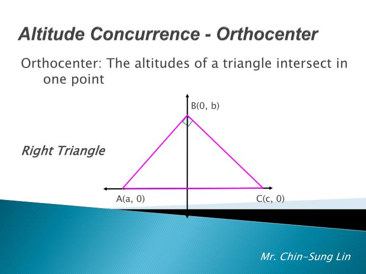 Orthocenter: The altitudes of a triangle intersect in one point