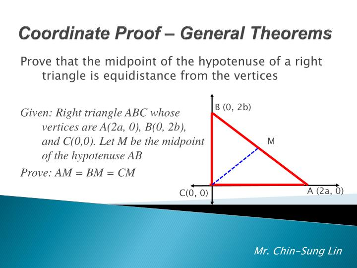 Prove that the midpoint of the hypotenuse of a right triangle is equidistance from the vertices