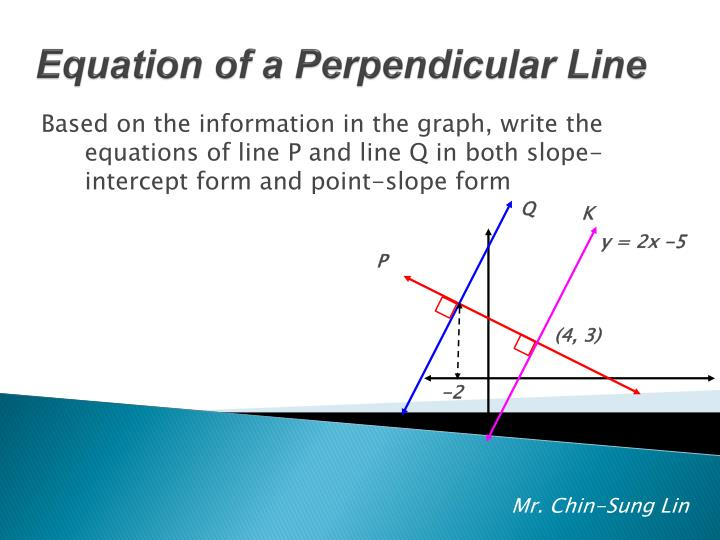 Based on the information in the graph, write the equations of line P and line Q in both slope-intercept form and point-slope form