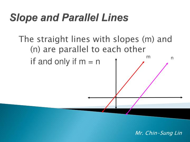 The straight lines with slopes (