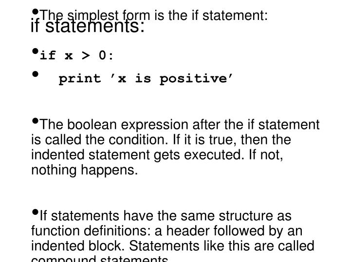 if statements: