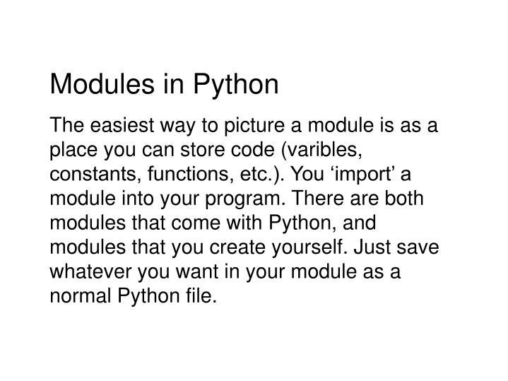 Modules in Python