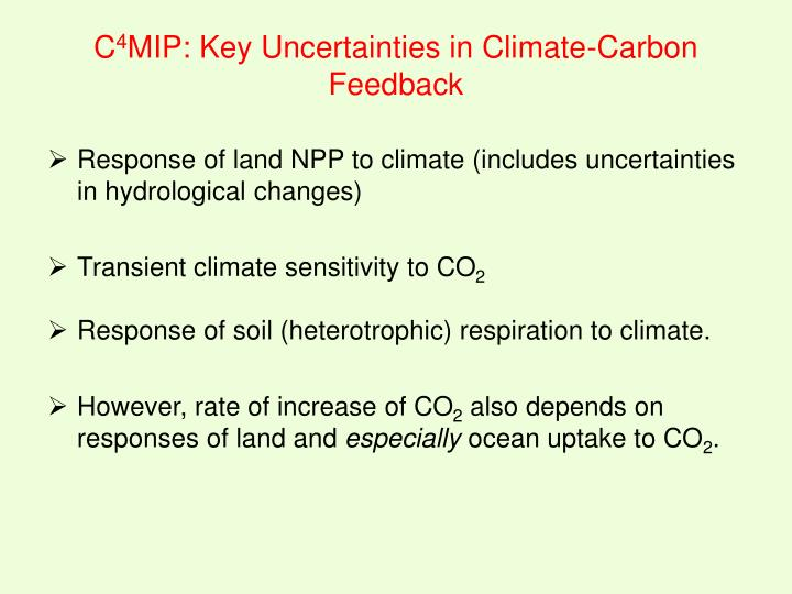 Response of land NPP to climate (includes uncertainties in hydrological changes)