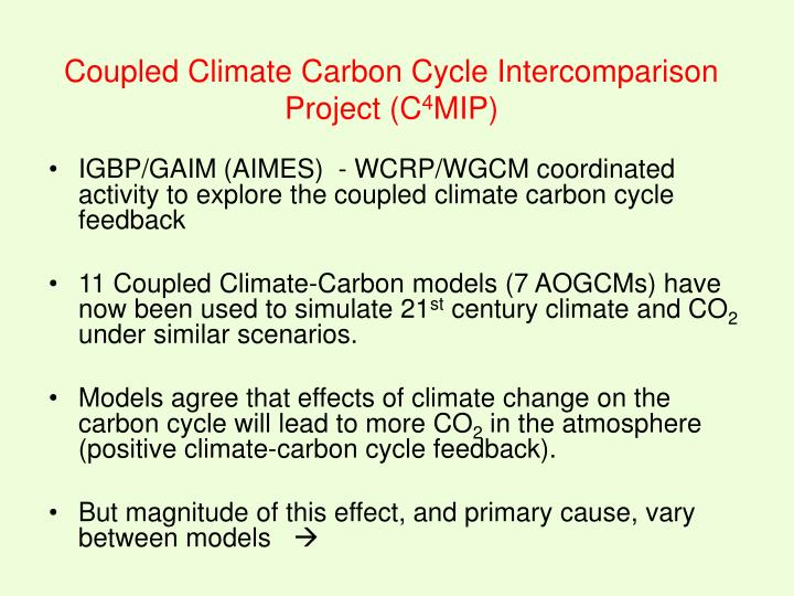 IGBP/GAIM (AIMES)  - WCRP/WGCM coordinated activity to explore the coupled climate carbon cycle feedback