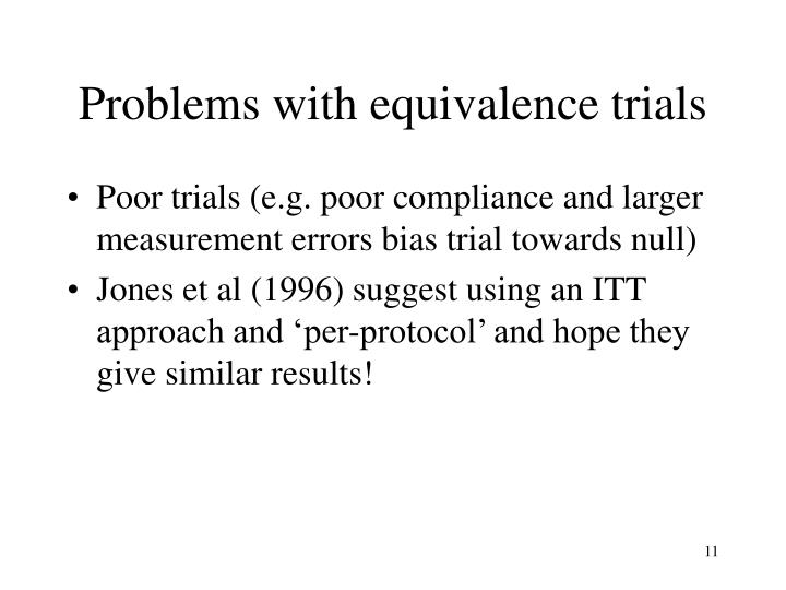 Problems with equivalence trials