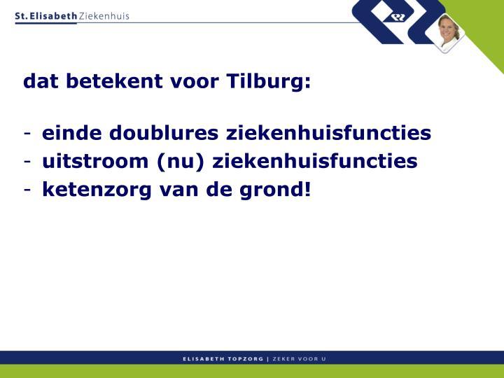 dat betekent voor Tilburg: