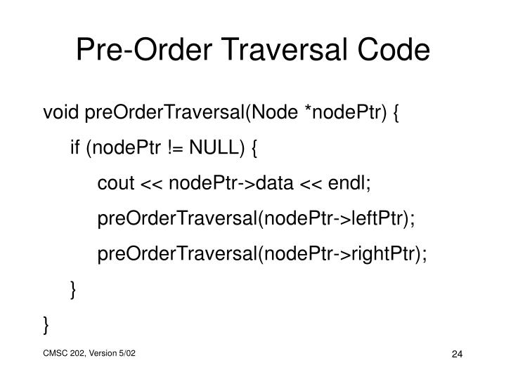 Pre-Order Traversal Code