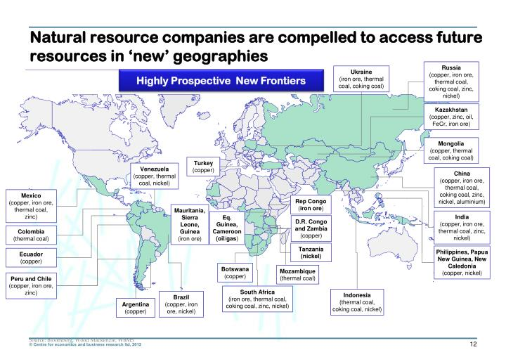 Natural resource companies are compelled to access future resources in 'new' geographies