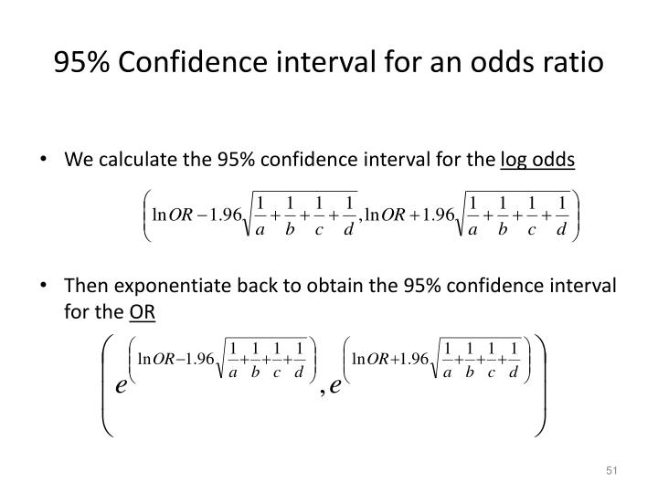 95% Confidence interval for an odds ratio
