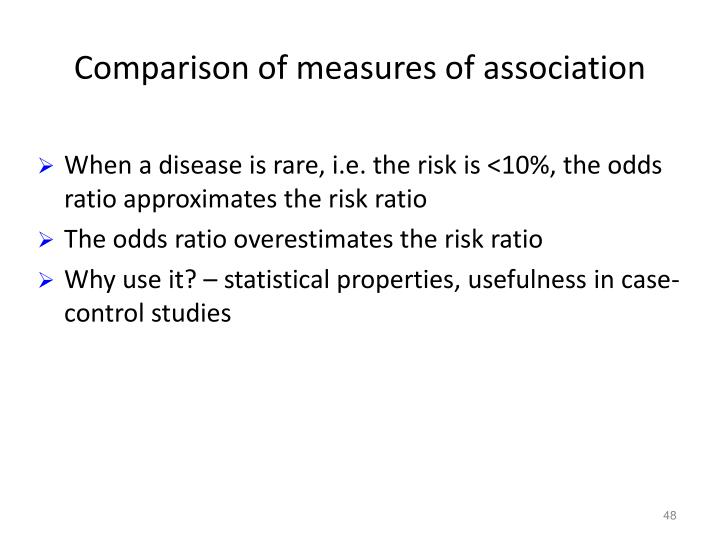 Comparison of measures of association