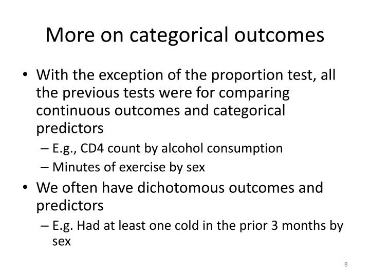 More on categorical outcomes