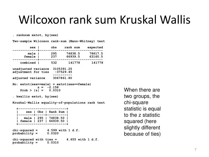 Wilcoxon rank sum Kruskal Wallis