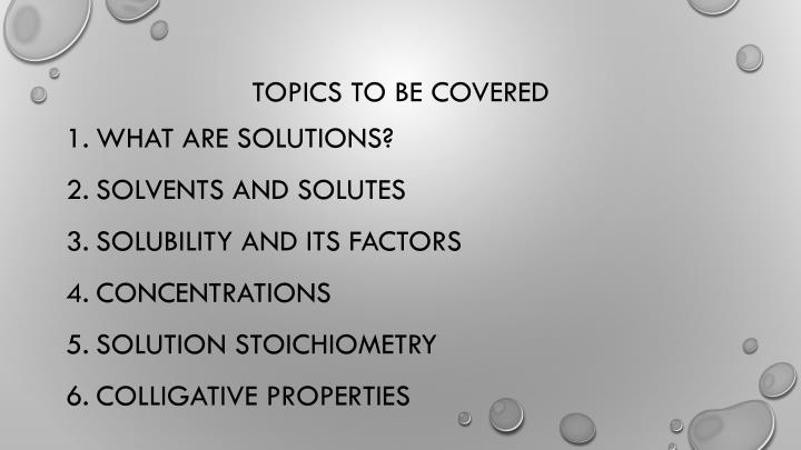 topics to be covered n.