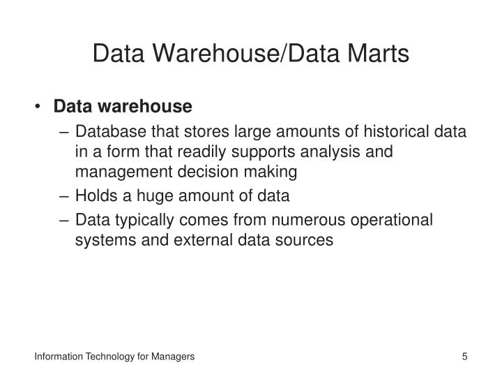 the recent advances in data warehouse information technology essay Data mining is a young interdisciplinary field, the task of discovering interesting patterns/knowledge from large amounts of data stored in database, data warehouse or other information repositories through data mining we can effectively address the challenges for improving the quality to provide new knowledge related to the educational.