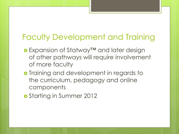 Faculty Development and Training
