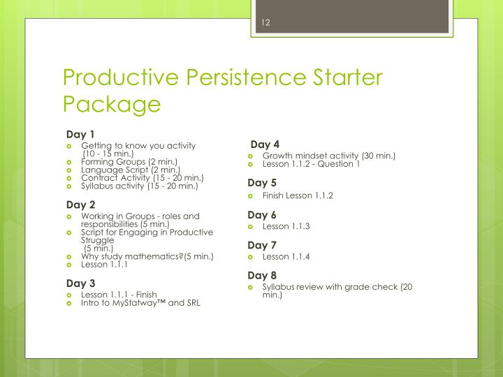 Productive Persistence Starter Package