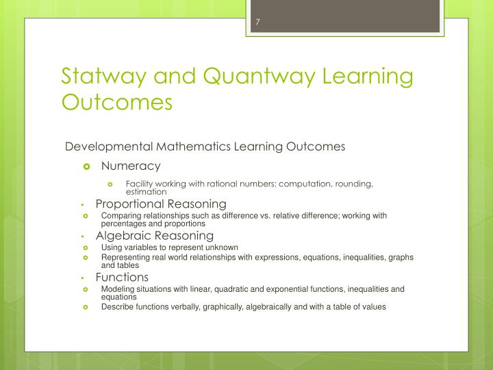 Statway and Quantway Learning Outcomes