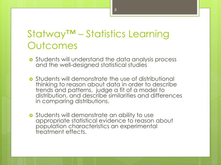 Statway™ – Statistics Learning Outcomes