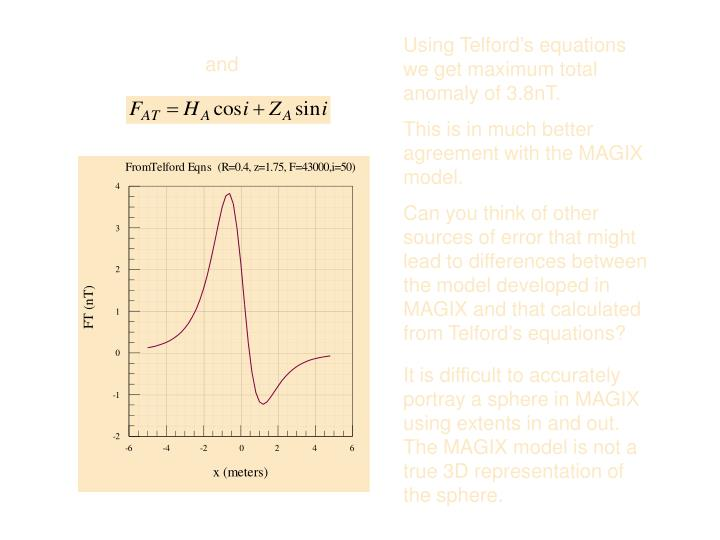 Using Telford's equations we get maximum total anomaly of 3.8nT.
