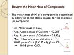 review the molar mass of compounds