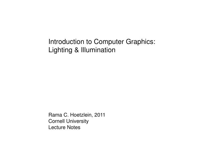 PPT - Ambient light – Global illumination coming from other