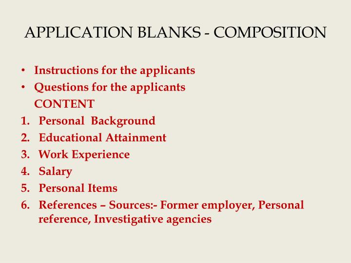 application blanks composition n.