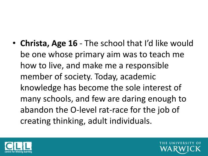 Christa, Age 16