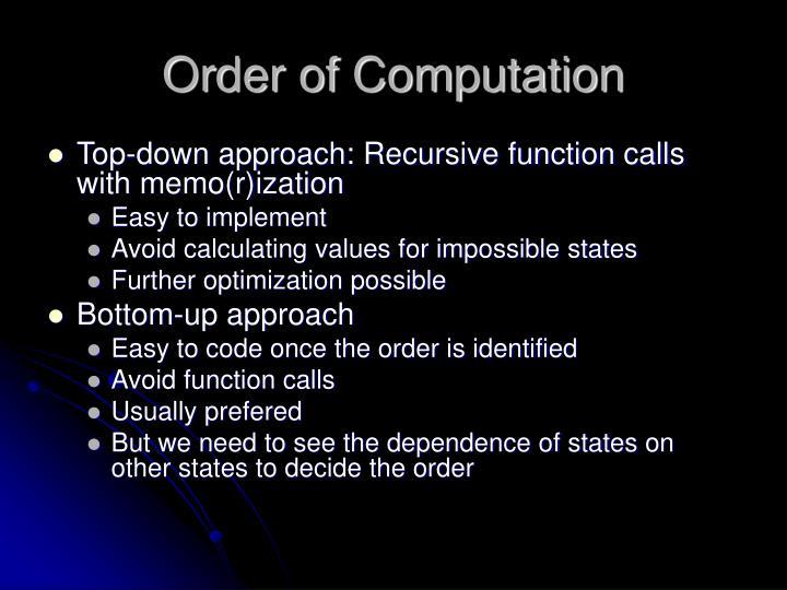 Order of Computation