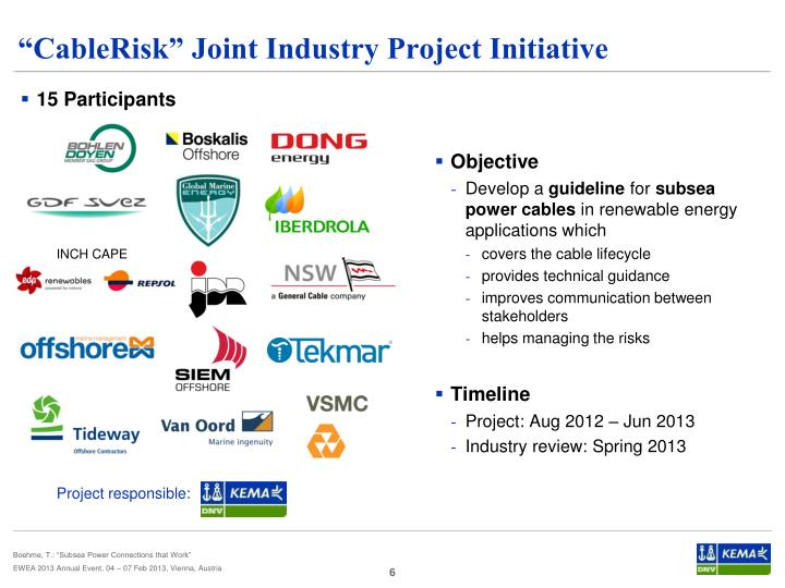 """""""CableRisk"""" Joint Industry Project Initiative"""