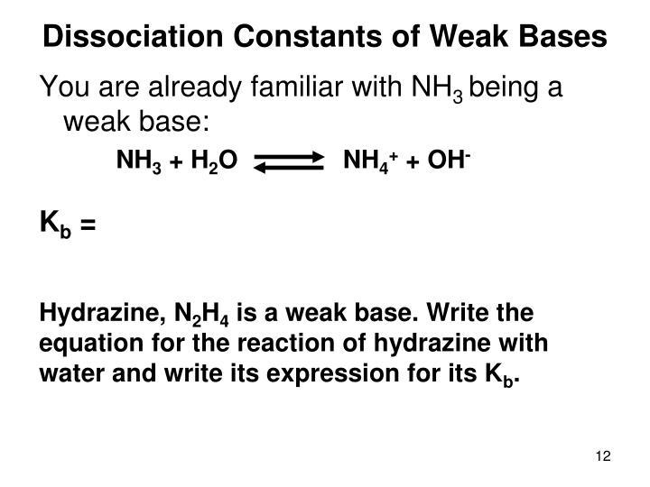 Dissociation Constants of Weak Bases