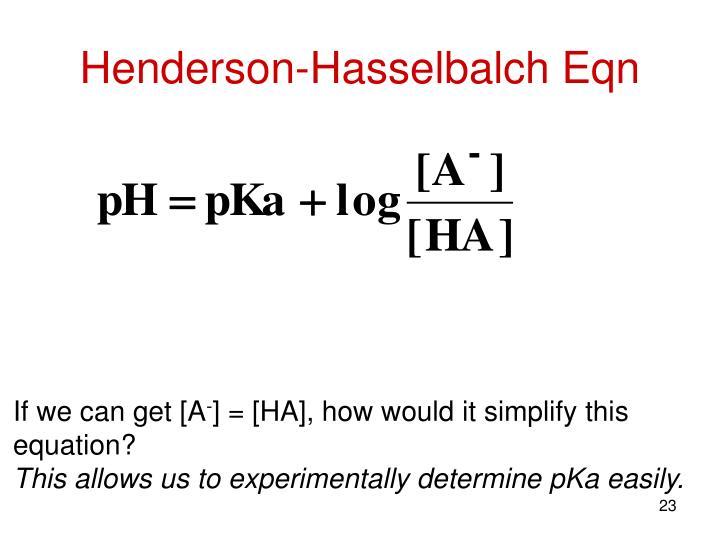 Henderson-Hasselbalch Eqn