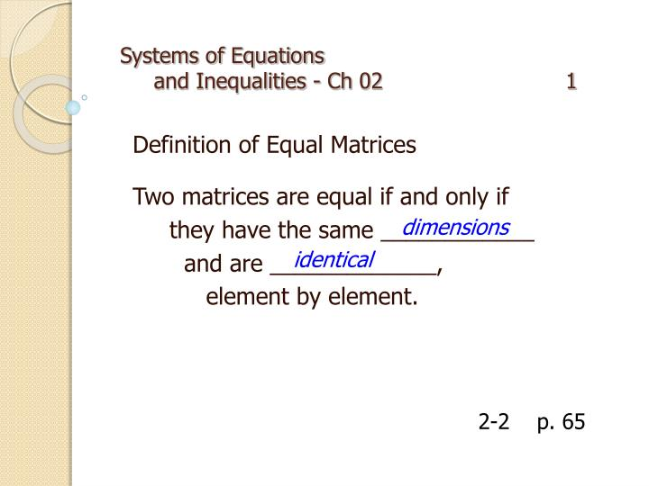 systems of equations and inequalities ch 02 1 n.