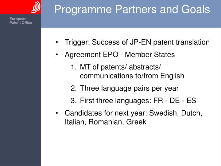 Programme partners and goals