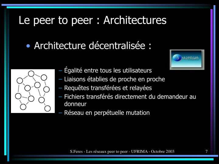Le peer to peer : Architectures
