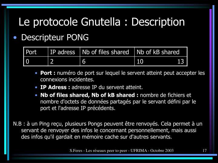 Le protocole Gnutella : Description