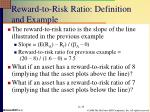 reward to risk ratio definition and example