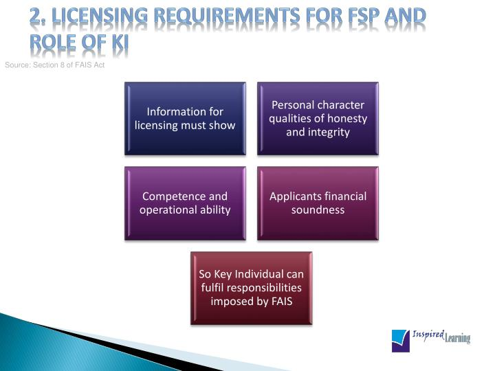 2 licensing requirements for fsp and role of ki