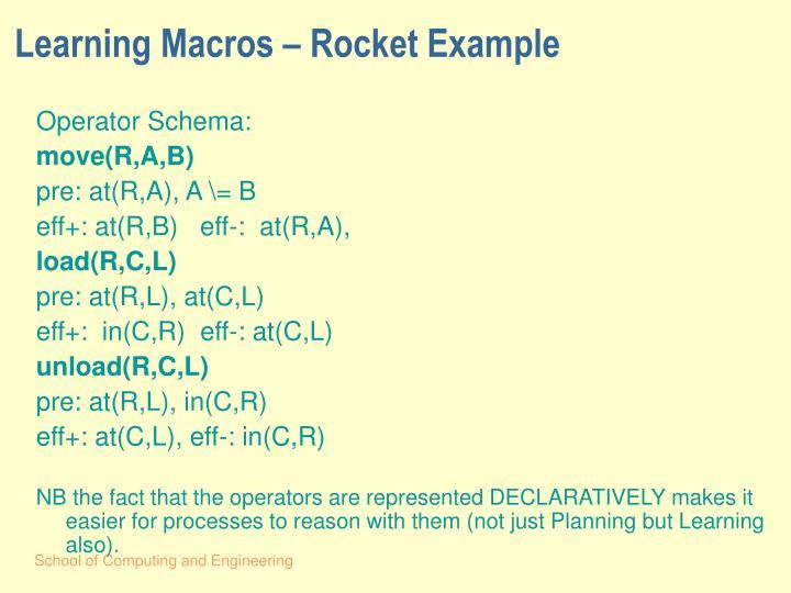 Learning Macros – Rocket Example