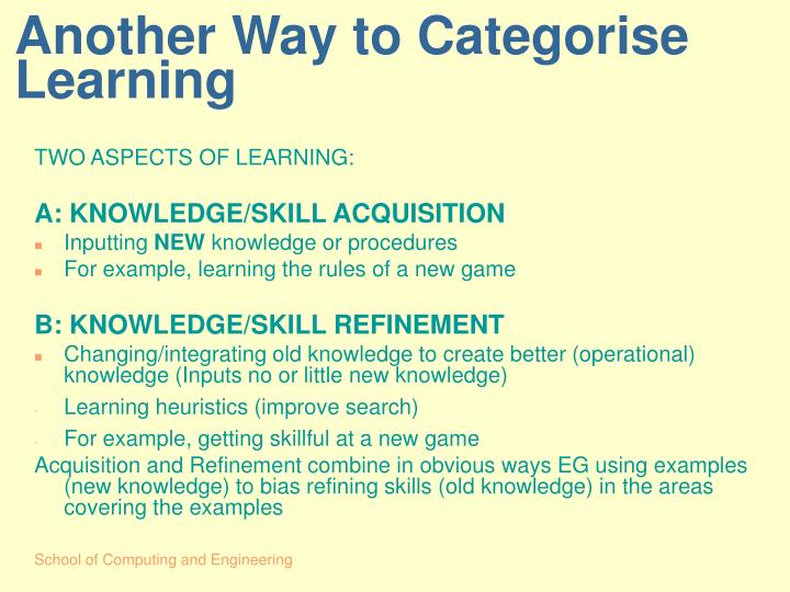 Another Way to Categorise Learning