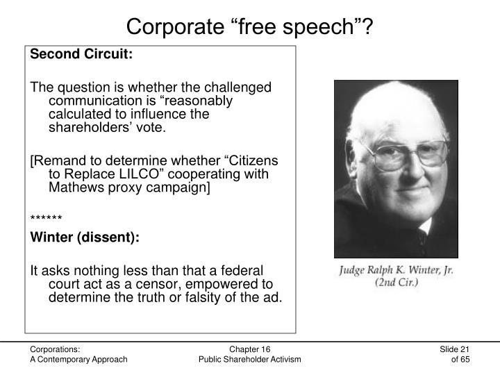 """Corporate """"free speech""""?"""