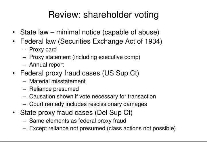 Review shareholder voting